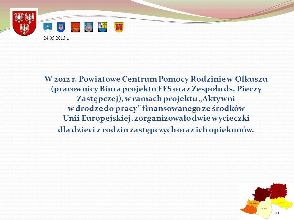 W 2012 r. Powiatowe Centrum Pomocy Rodzinie w Olkuszu (pracownicy Biura projektu EFS oraz Zespołu ds. Pieczy Zastępczej), w ramach projektu Aktywni w