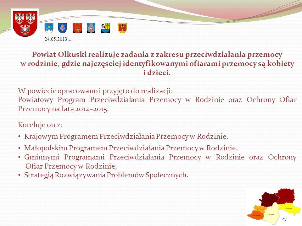 Powiat Olkuski realizuje zadania z zakresu przeciwdziałania przemocy w rodzinie, gdzie najczęściej identyfikowanymi ofiarami przemocy są kobiety i dzi