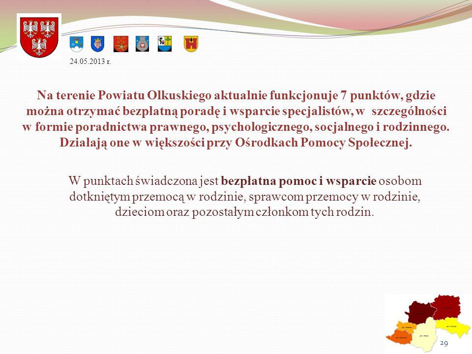 Na terenie Powiatu Olkuskiego aktualnie funkcjonuje 7 punktów, gdzie można otrzymać bezpłatną poradę i wsparcie specjalistów, w szczególności w formie