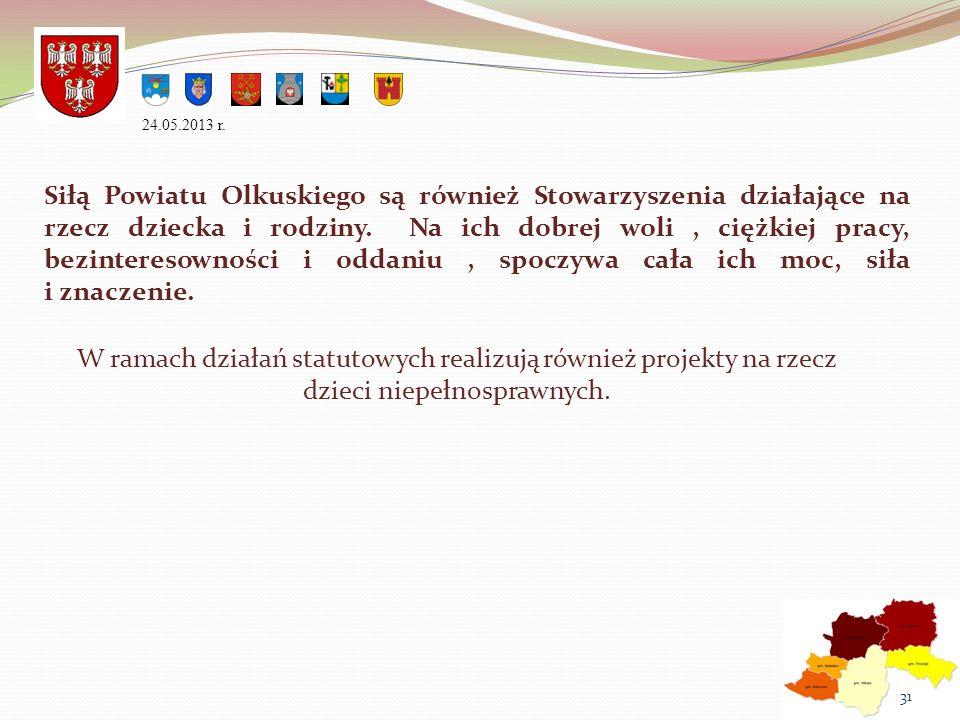 Siłą Powiatu Olkuskiego są również Stowarzyszenia działające na rzecz dziecka i rodziny. Na ich dobrej woli, ciężkiej pracy, bezinteresowności i oddan