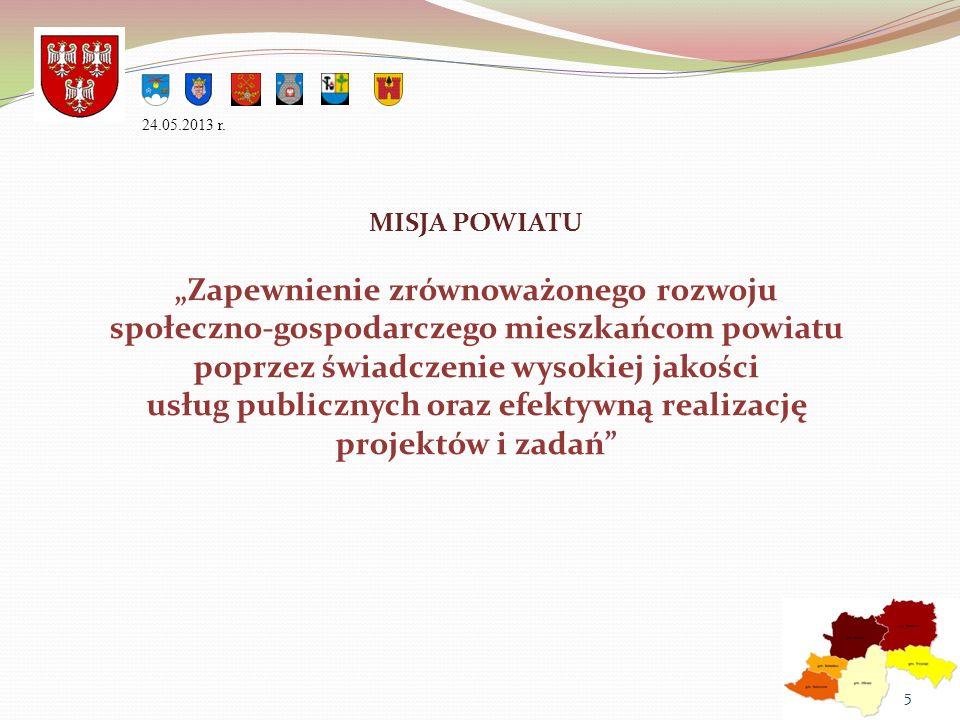 MISJA POWIATU Zapewnienie zrównoważonego rozwoju społeczno-gospodarczego mieszkańcom powiatu poprzez świadczenie wysokiej jakości usług publicznych or
