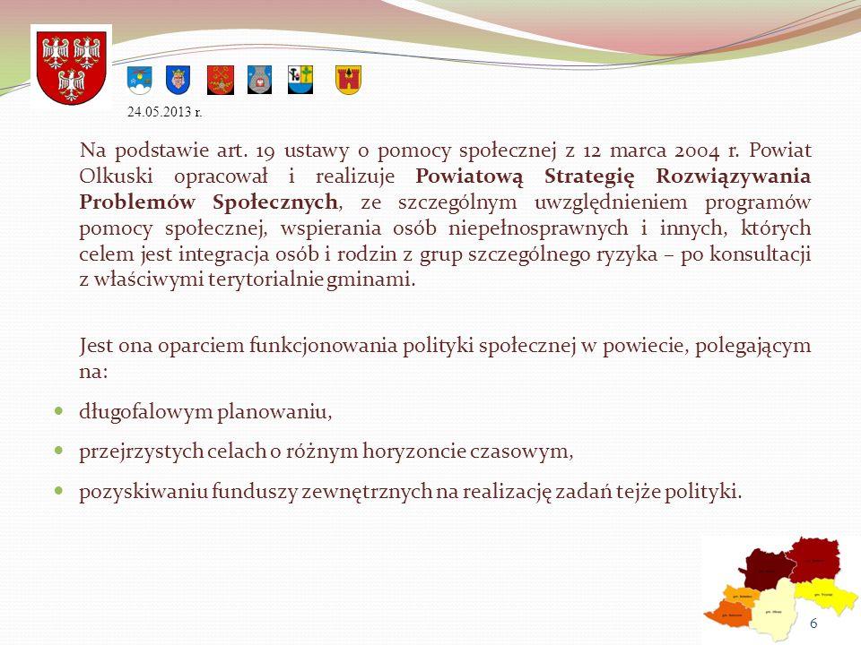Na podstawie art. 19 ustawy o pomocy społecznej z 12 marca 2004 r. Powiat Olkuski opracował i realizuje Powiatową Strategię Rozwiązywania Problemów Sp