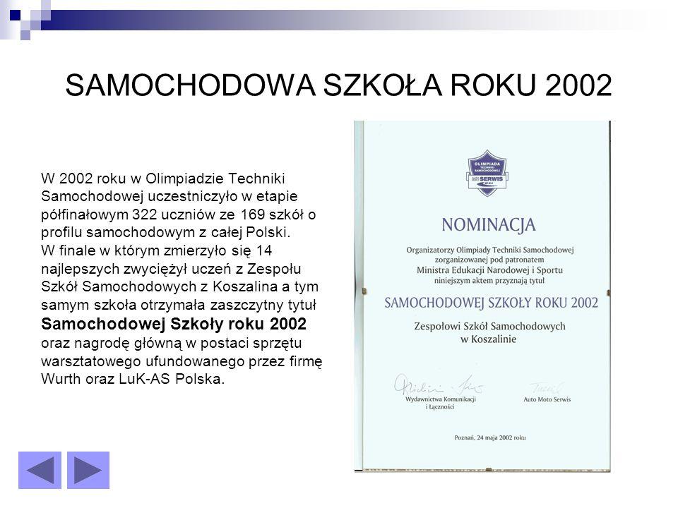 SAMOCHODOWA SZKOŁA ROKU 2002 W 2002 roku w Olimpiadzie Techniki Samochodowej uczestniczyło w etapie półfinałowym 322 uczniów ze 169 szkół o profilu samochodowym z całej Polski.