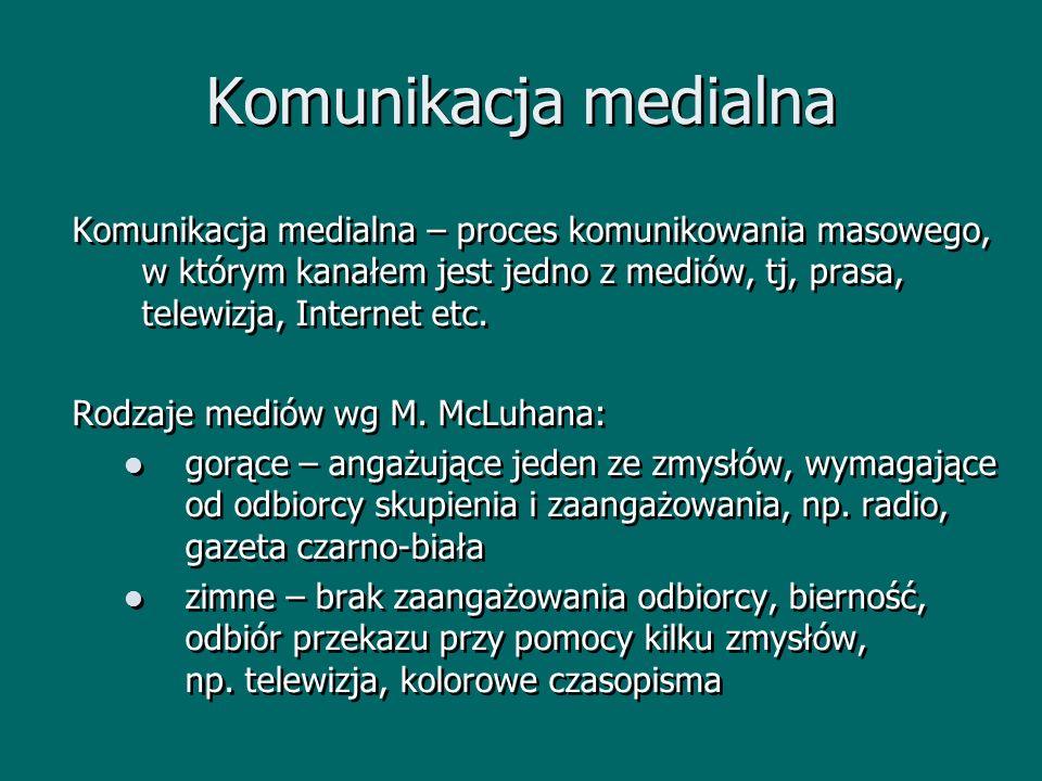 Komunikacja medialna Komunikacja medialna – proces komunikowania masowego, w którym kanałem jest jedno z mediów, tj, prasa, telewizja, Internet etc. R