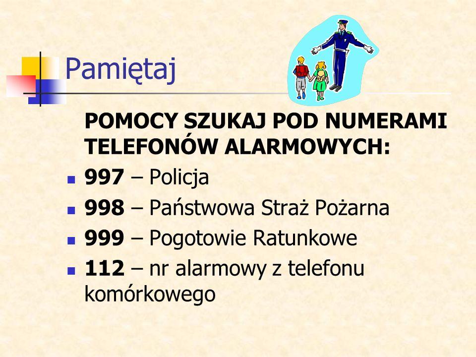 Pamiętaj POMOCY SZUKAJ POD NUMERAMI TELEFONÓW ALARMOWYCH: 997 – Policja 998 – Państwowa Straż Pożarna 999 – Pogotowie Ratunkowe 112 – nr alarmowy z te