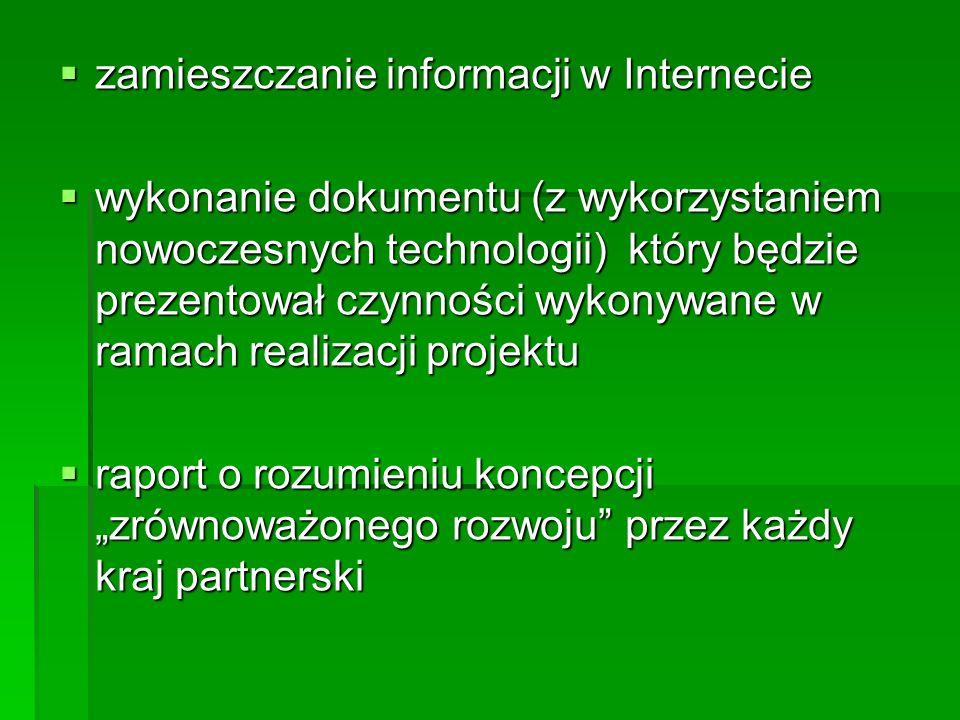 zamieszczanie informacji w Internecie zamieszczanie informacji w Internecie wykonanie dokumentu (z wykorzystaniem nowoczesnych technologii) który będzie prezentował czynności wykonywane w ramach realizacji projektu wykonanie dokumentu (z wykorzystaniem nowoczesnych technologii) który będzie prezentował czynności wykonywane w ramach realizacji projektu raport o rozumieniu koncepcji zrównoważonego rozwoju przez każdy kraj partnerski raport o rozumieniu koncepcji zrównoważonego rozwoju przez każdy kraj partnerski