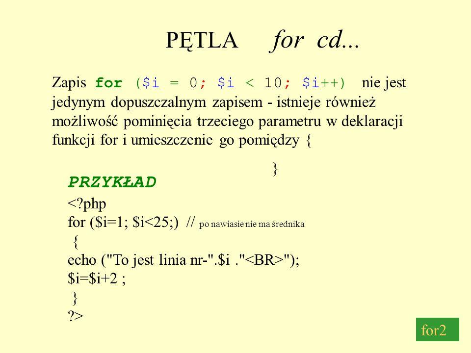 PĘTLA while Pętla while działa w następujący sposób : najpierw sprawdzany jest warunek - (w tym wypadku czy $i <5) jeżeli warunek jest spełniony pętla wykonuje się po wykonaniu pętli warunek jest sprawdzany powtórnie itd.....