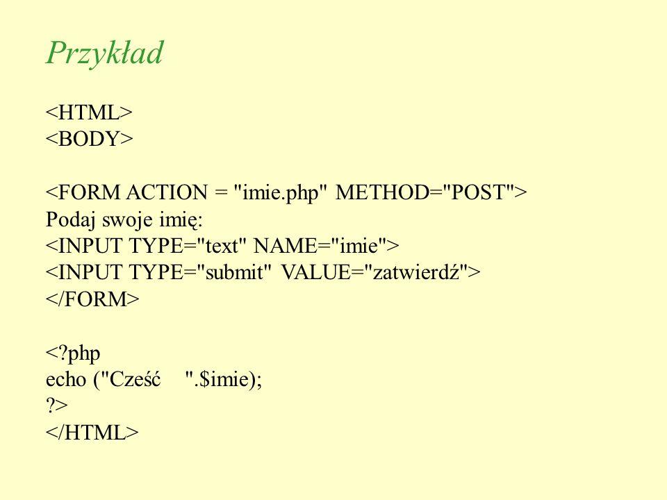 Przykład Podaj swoje imię: <?php echo (