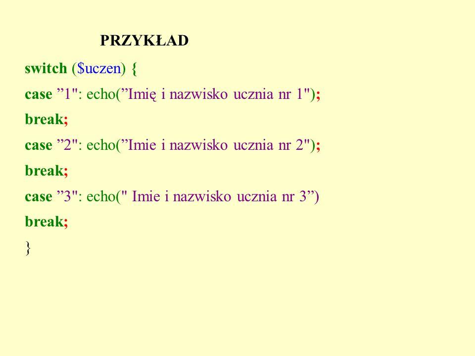 Ćwiczenie Korzystając z instrukcji switch napisz kod który np..