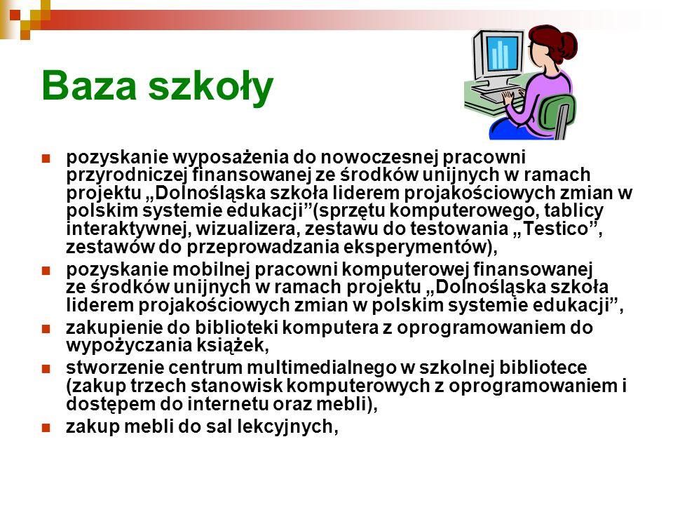 Baza szkoły pozyskanie wyposażenia do nowoczesnej pracowni przyrodniczej finansowanej ze środków unijnych w ramach projektu Dolnośląska szkoła liderem