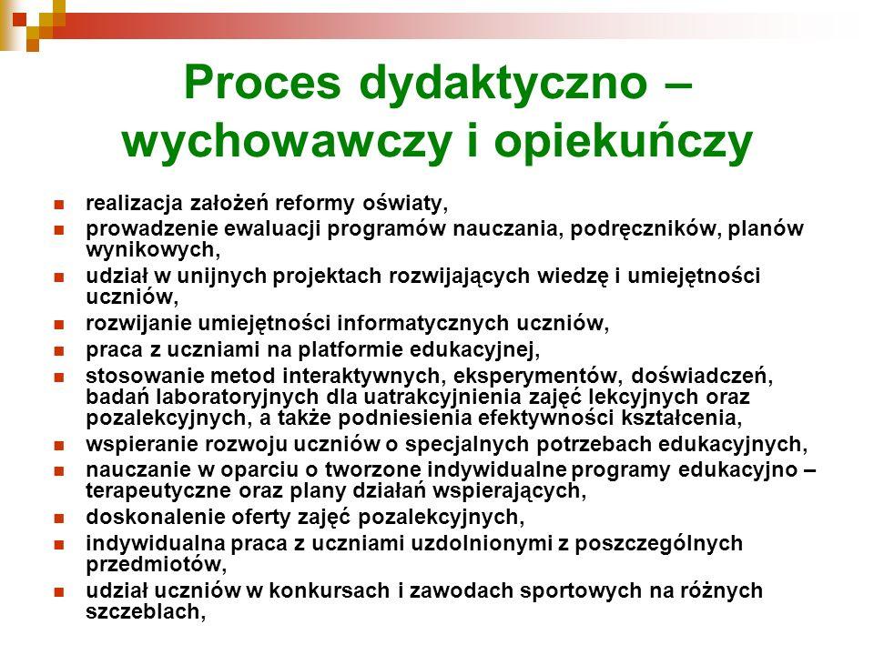 Proces dydaktyczno – wychowawczy i opiekuńczy realizacja założeń reformy oświaty, prowadzenie ewaluacji programów nauczania, podręczników, planów wyni