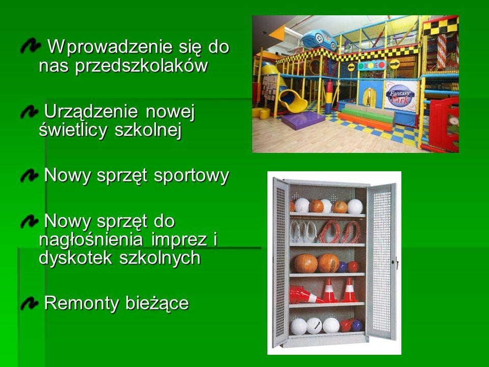Wprowadzenie się do nas przedszkolaków Wprowadzenie się do nas przedszkolaków Urządzenie nowej świetlicy szkolnej Urządzenie nowej świetlicy szkolnej