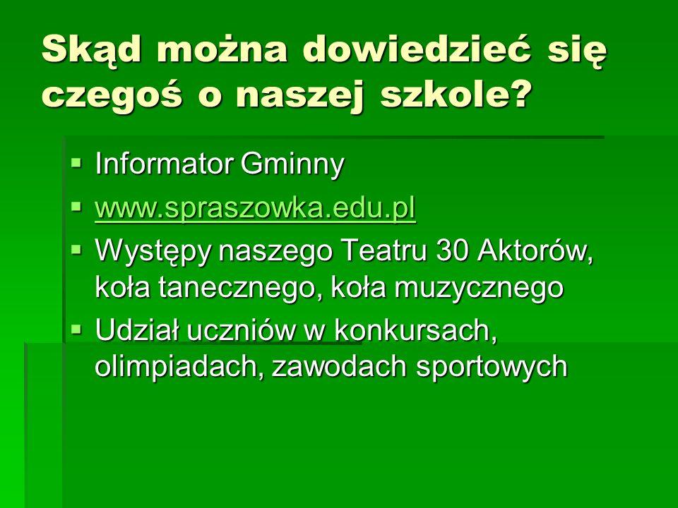 Skąd można dowiedzieć się czegoś o naszej szkole? Informator Gminny Informator Gminny www.spraszowka.edu.pl www.spraszowka.edu.pl www.spraszowka.edu.p