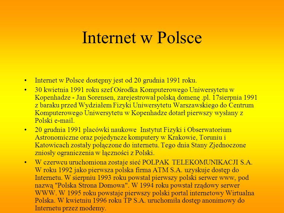 Internet w Polsce Internet w Polsce dostępny jest od 20 grudnia 1991 roku. 30 kwietnia 1991 roku szef Ośrodka Komputerowego Uniwersytetu w Kopenhadze