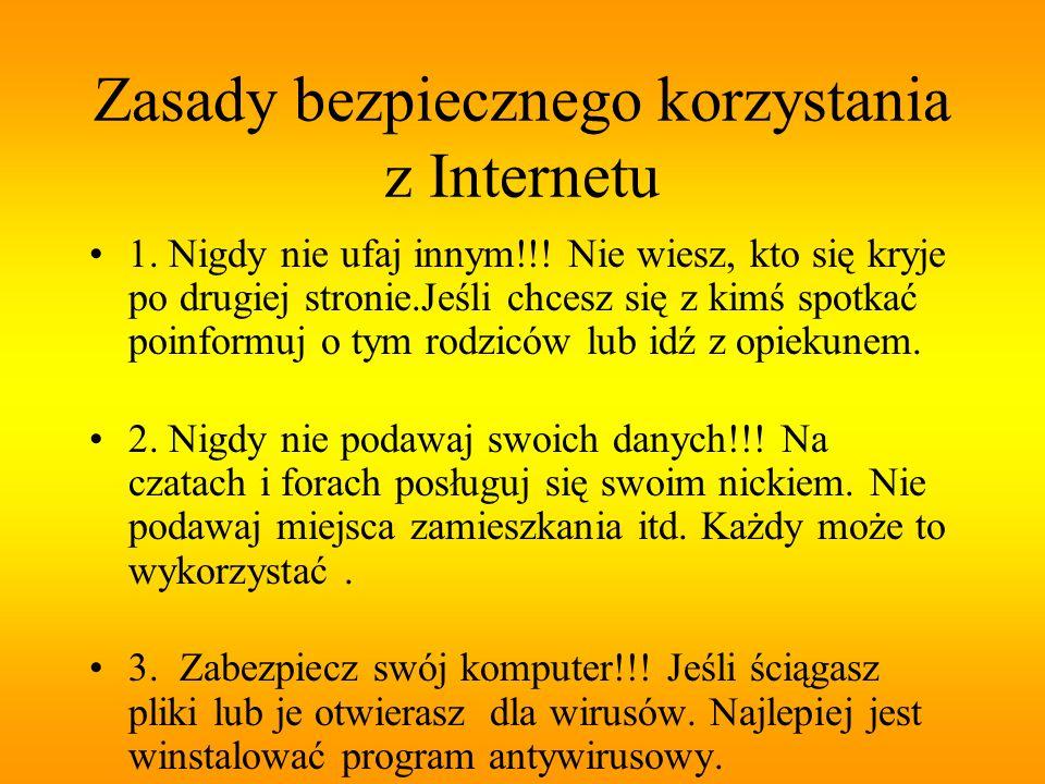 Zasady bezpiecznego korzystania z Internetu 1. Nigdy nie ufaj innym!!! Nie wiesz, kto się kryje po drugiej stronie.Jeśli chcesz się z kimś spotkać poi