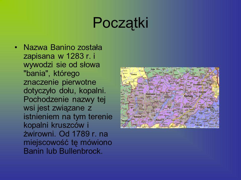 Początki Nazwa Banino została zapisana w 1283 r. i wywodzi sie od słowa