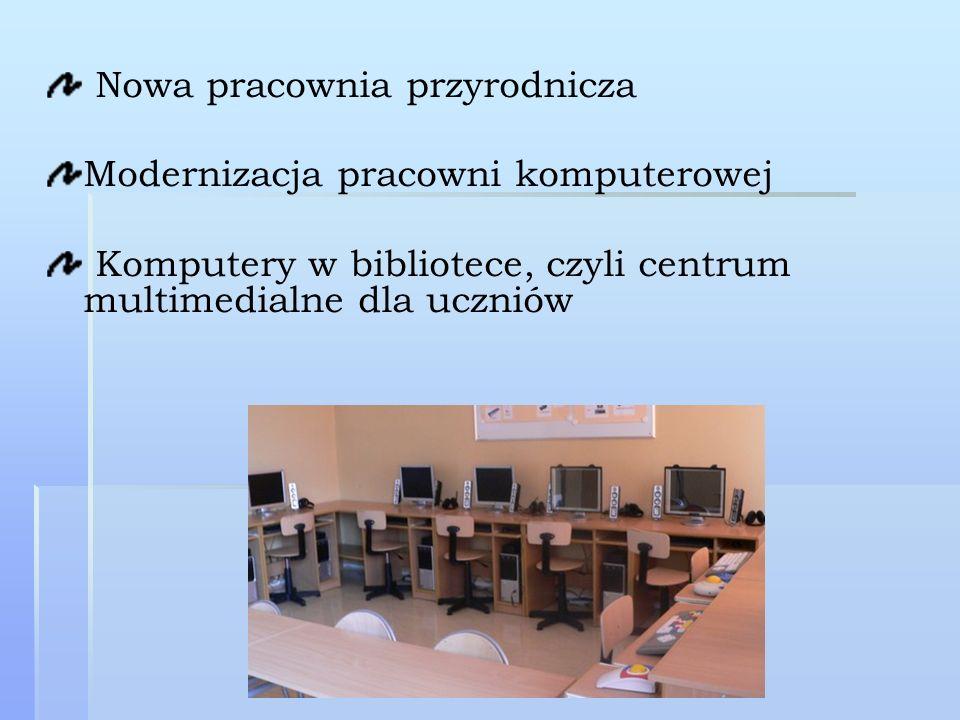 Nowa pracownia przyrodnicza Modernizacja pracowni komputerowej Komputery w bibliotece, czyli centrum multimedialne dla uczniów