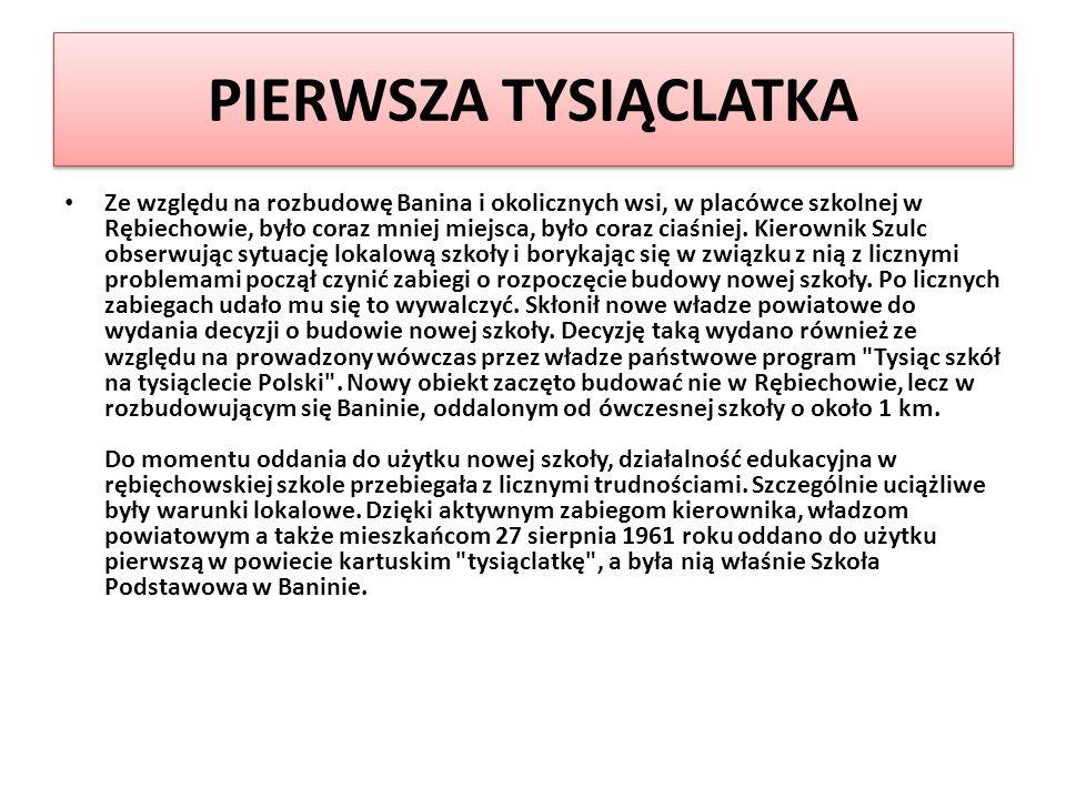Historia Szkoły Historia Szkoły 1961- 2011 POWSTANIE, ROZWÓJ SZKOŁY PODSTAWOWEJ W BANINIE im. ks. prałata Józefa Bigusa