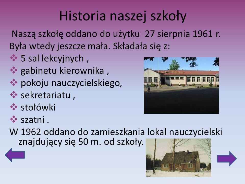 Historia naszej szkoły Naszą szkołę oddano do użytku 27 sierpnia 1961 r. Była wtedy jeszcze mała. Składała się z: 5 sal lekcyjnych, gabinetu kierownik