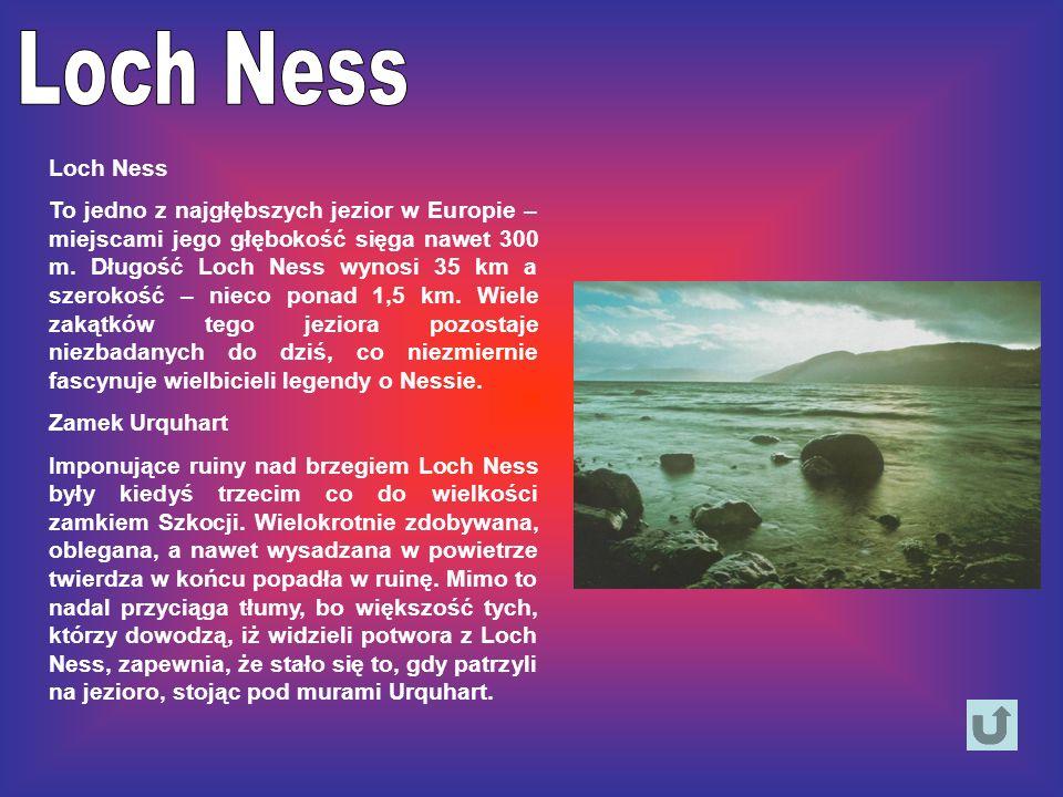 Loch Ness To jedno z najgłębszych jezior w Europie – miejscami jego głębokość sięga nawet 300 m. Długość Loch Ness wynosi 35 km a szerokość – nieco po