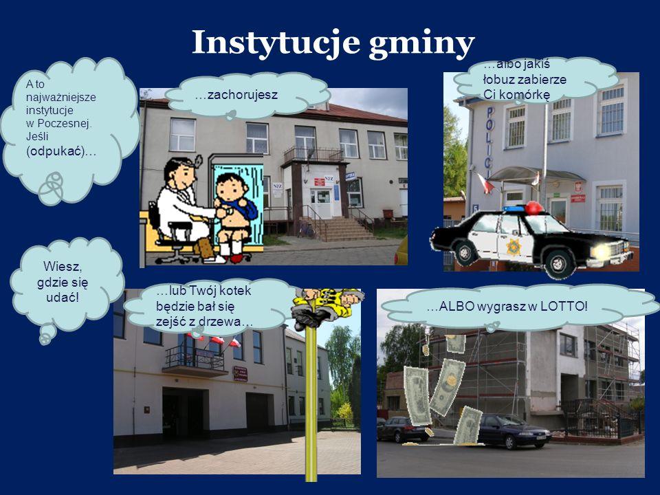 Instytucje gminy A to najważniejsze instytucje w Poczesnej. Jeśli (odpukać)… …zachorujesz …albo jakiś łobuz zabierze Ci komórkę …lub Twój kotek będzie