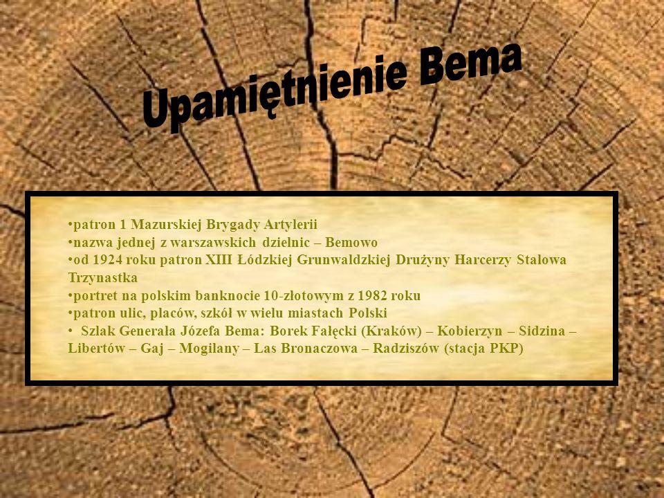 patron 1 Mazurskiej Brygady Artylerii nazwa jednej z warszawskich dzielnic – Bemowo od 1924 roku patron XIII Łódzkiej Grunwaldzkiej Drużyny Harcerzy S