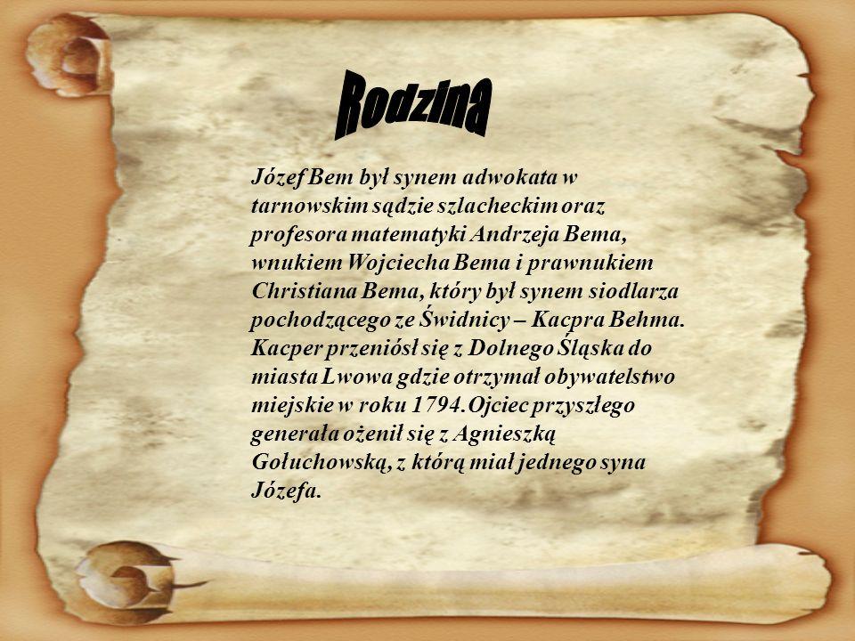 Józef Bem był synem adwokata w tarnowskim sądzie szlacheckim oraz profesora matematyki Andrzeja Bema, wnukiem Wojciecha Bema i prawnukiem Christiana B