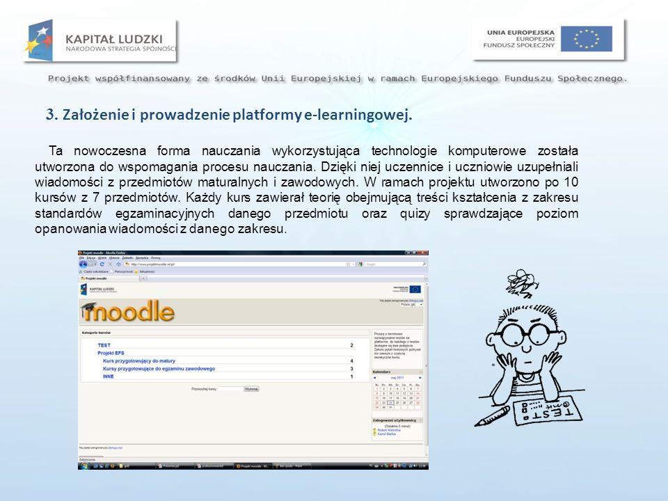 3. Założenie i prowadzenie platformy e-learningowej.
