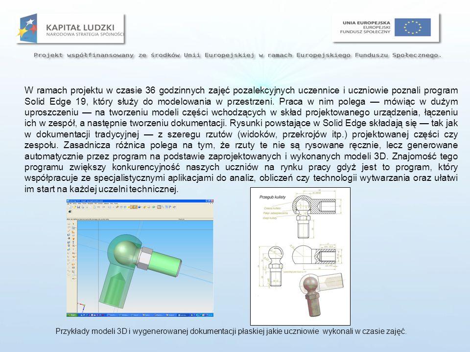 Umiejętności jakie młodzież nabyła w czasie zajęć dodatkowych zostały potwierdzone zaświadczeniami wydawanymi przez Polskie Stowarzyszenie Upowszechniania Komputerowych Systemów Inżynierskich ProCAx w Warszawie, gdzie odbył się egzamin sprawdzający.