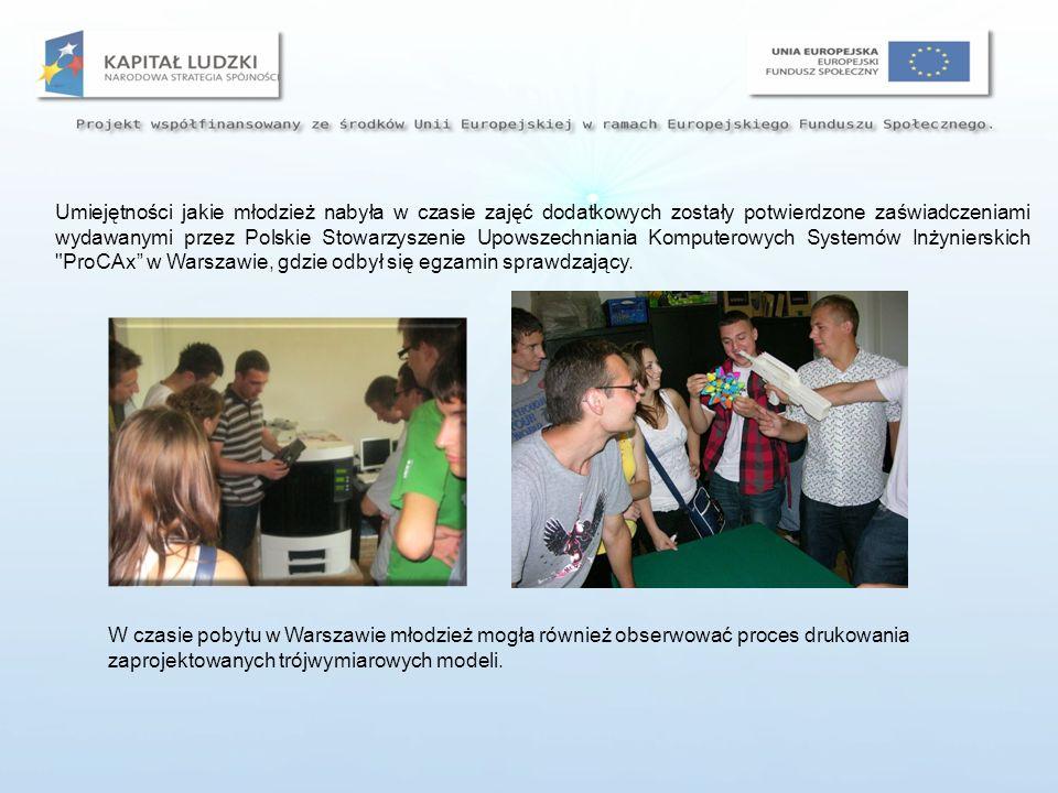 zdobycie dodatkowych umiejętności z zakresu komputerowych metod opracowywania dokumentacji technicznej, zdobycie dodatkowych kwalifikacji z zakresu obsługi specjalistycznego oprogramowania wspomagającego projektowanie inżynierskie, wykonanie dużej liczby ćwiczeń praktycznych z zakresu modelowania trójwymiarowego części maszyn, zdobycie zaświadczeń Cax wydawanych przez Polskie Stowarzyszenie Upowszechniania Komputerowych Systemów Inżynierskich ProCAx , zwiększenie konkurencyjności uczniów na rynku pracy, kształtowanie umiejętności interpretowania informacji zawartych w dokumentacji technicznej, rozwijanie zainteresowań technicznych Efekty: