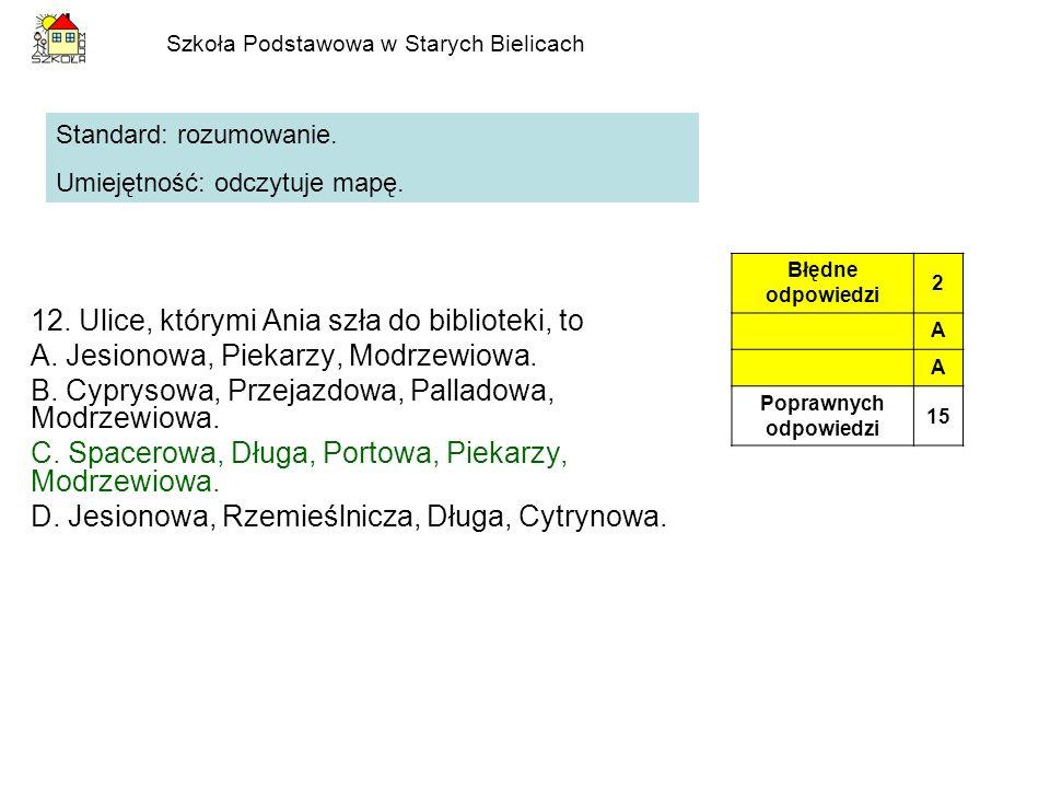 Szkoła Podstawowa w Starych Bielicach 12. Ulice, którymi Ania szła do biblioteki, to A. Jesionowa, Piekarzy, Modrzewiowa. B. Cyprysowa, Przejazdowa, P