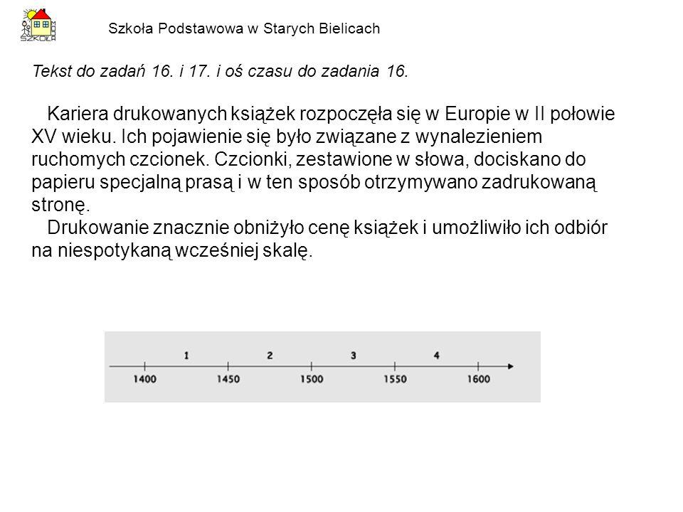 Szkoła Podstawowa w Starych Bielicach Tekst do zadań 16. i 17. i oś czasu do zadania 16. Kariera drukowanych książek rozpoczęła się w Europie w II poł