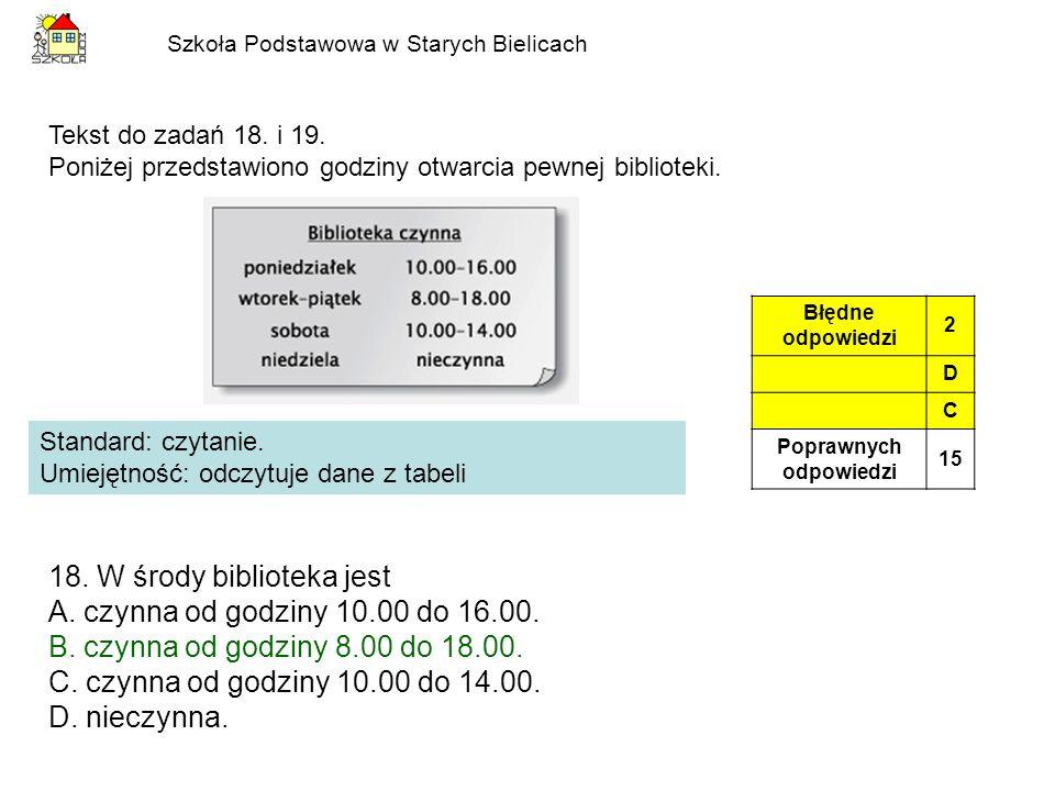 Szkoła Podstawowa w Starych Bielicach Standard: czytanie. Umiejętność: odczytuje dane z tabeli Błędne odpowiedzi 2 D C Poprawnych odpowiedzi 15 Tekst