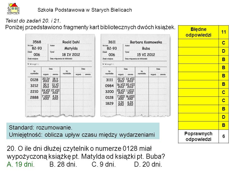 Szkoła Podstawowa w Starych Bielicach Tekst do zadań 20. i 21. Poniżej przedstawiono fragmenty kart bibliotecznych dwóch książek. 20. O ile dni dłużej