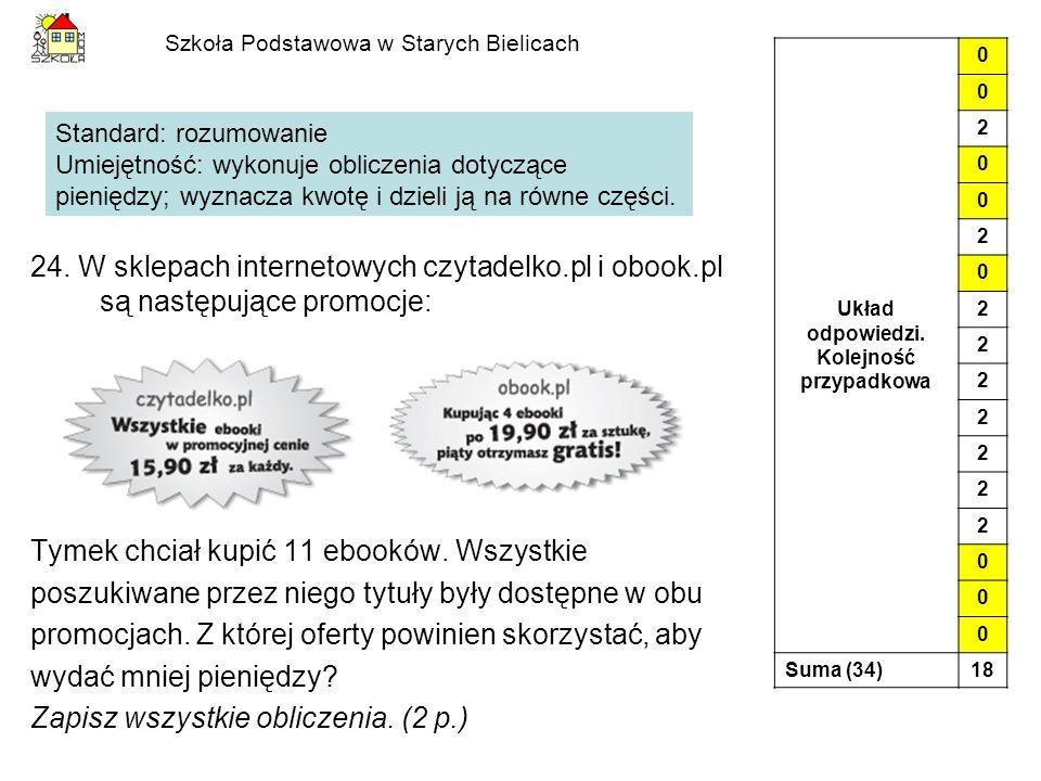 Szkoła Podstawowa w Starych Bielicach 24. W sklepach internetowych czytadelko.pl i obook.pl są następujące promocje: Tymek chciał kupić 11 ebooków. Ws