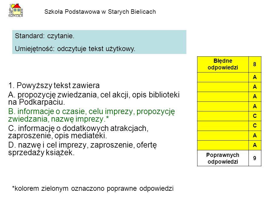 1. Powyższy tekst zawiera A. propozycję zwiedzania, cel akcji, opis biblioteki na Podkarpaciu. B. informacje o czasie, celu imprezy, propozycję zwiedz