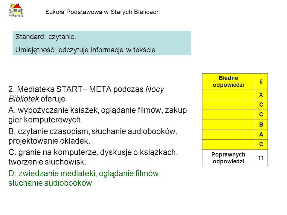 Szkoła Podstawowa w Starych Bielicach 2. Mediateka START– META podczas Nocy Bibliotek oferuje A. wypożyczanie książek, oglądanie filmów, zakup gier ko