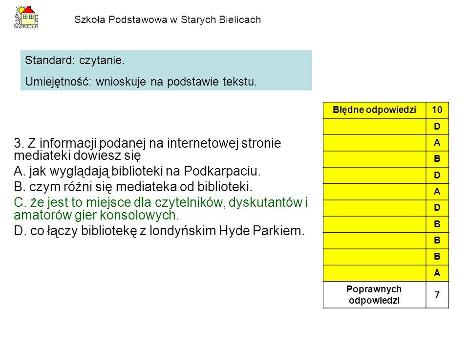 Szkoła Podstawowa w Starych Bielicach 3. Z informacji podanej na internetowej stronie mediateki dowiesz się A. jak wyglądają biblioteki na Podkarpaciu