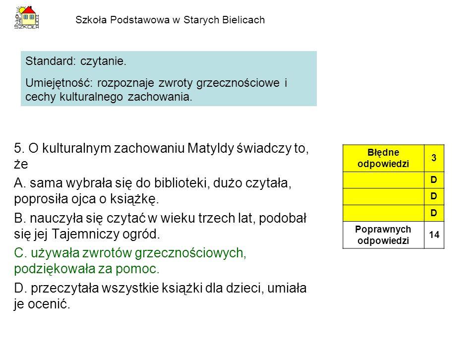 Szkoła Podstawowa w Starych Bielicach Wykres do zadań 14.