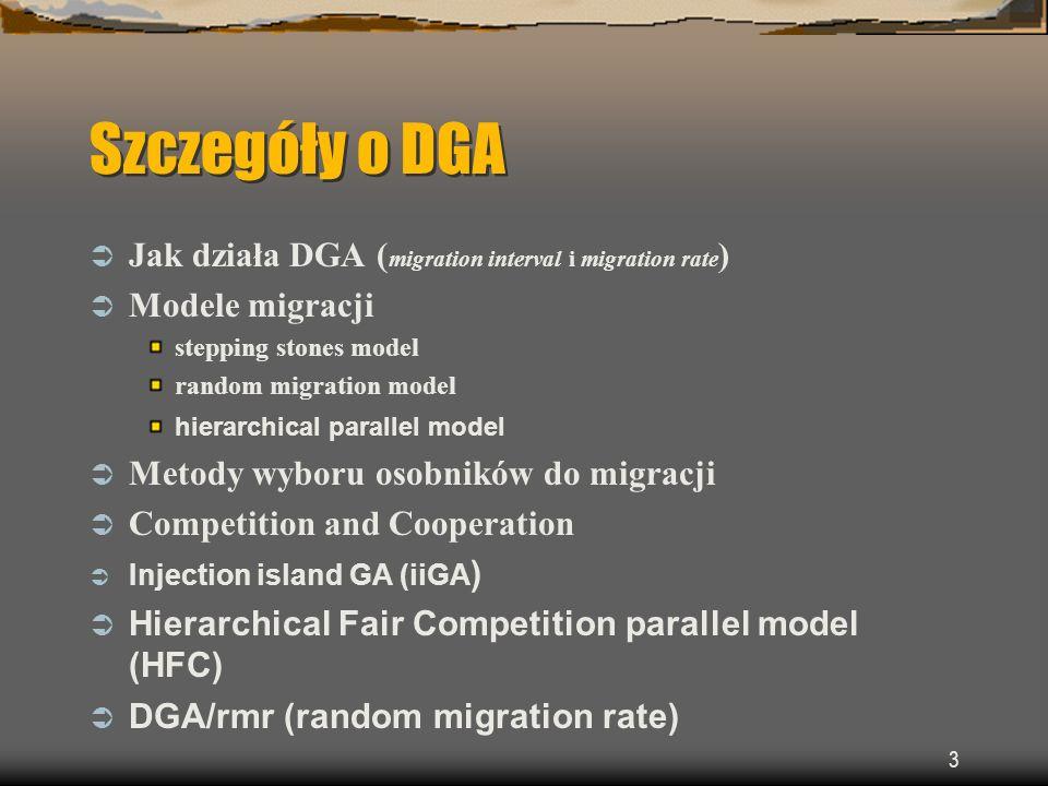 14 Distributed Genetic Algorithm migration interval Po zdefiniowanej ilości pokoleń migration interval część osobników przenoszonych jest (lub kopiowanych) na inną wyspę.