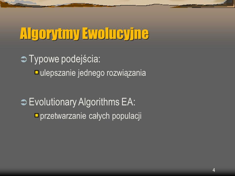 5 Algorytmy Ewolucyjne Wspólne cechy EA reprezentacja rozwiązań jako osobników reprodukcja losowe zmiany współzawodnictwo osobników selekcja osobników
