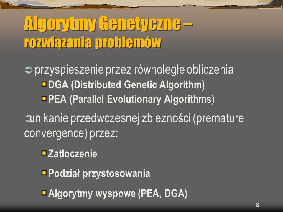 29 Injection island GA - iiGA Hierarchiczny model równoległy podpopulacje zorganizowane są w hierarchię różne reprezentacje na każdym z poziomów przykład modelu z rywalizacją.