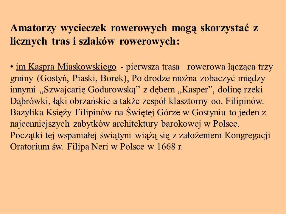 Amatorzy wycieczek rowerowych mogą skorzystać z licznych tras i szlaków rowerowych: im Kaspra Miaskowskiego - pierwsza trasa rowerowa łącząca trzy gminy (Gostyń, Piaski, Borek), Po drodze można zobaczyć między innymi Szwajcarię Godurowską z dębem Kasper, dolinę rzeki Dąbrówki, łąki obrzańskie a także zespół klasztorny oo.