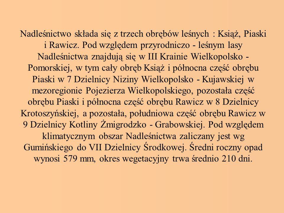 Nadleśnictwo składa się z trzech obrębów leśnych : Książ, Piaski i Rawicz. Pod względem przyrodniczo - leśnym lasy Nadleśnictwa znajdują się w III Kra