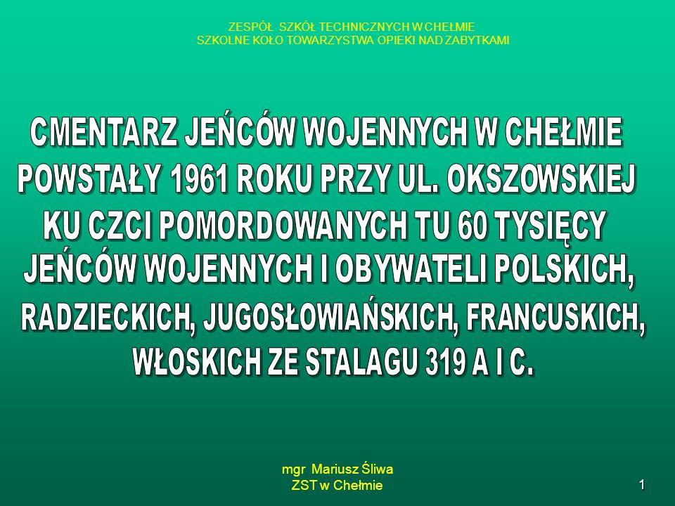 mgr Mariusz Śliwa ZST w Chełmie1 ZESPÓŁ SZKÓŁ TECHNICZNYCH W CHEŁMIE SZKOLNE KOŁO TOWARZYSTWA OPIEKI NAD ZABYTKAMI