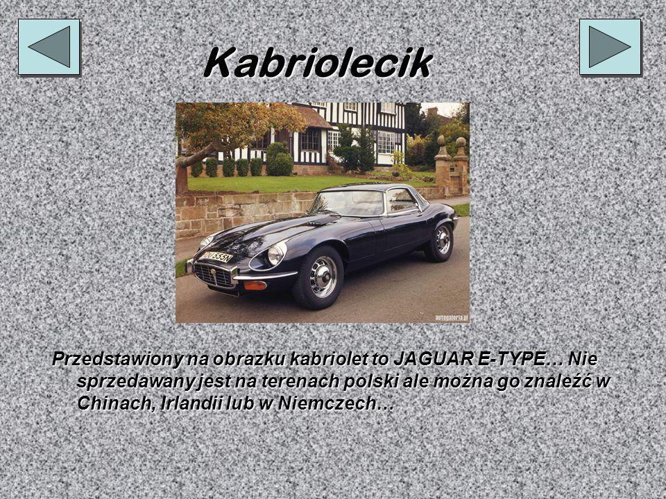 Kabriolecik Przedstawiony na obrazku kabriolet to JAGUAR E-TYPE… Nie sprzedawany jest na terenach polski ale można go znaleźć w Chinach, Irlandii lub w Niemczech…