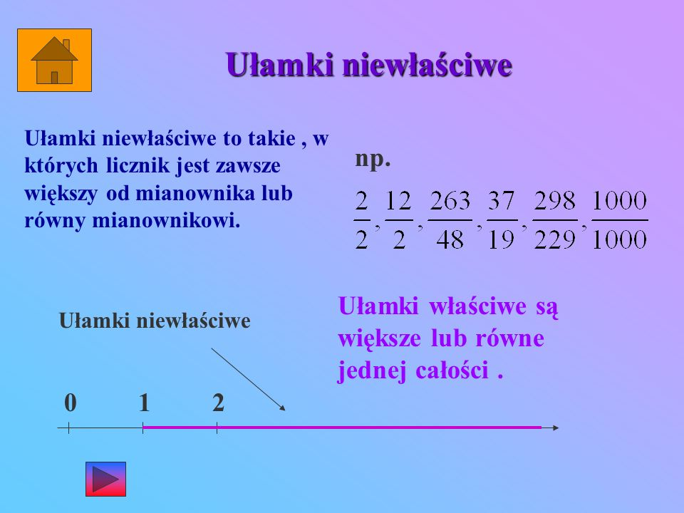 Ułamki niewłaściwe Ułamki niewłaściwe to takie, w których licznik jest zawsze większy od mianownika lub równy mianownikowi.