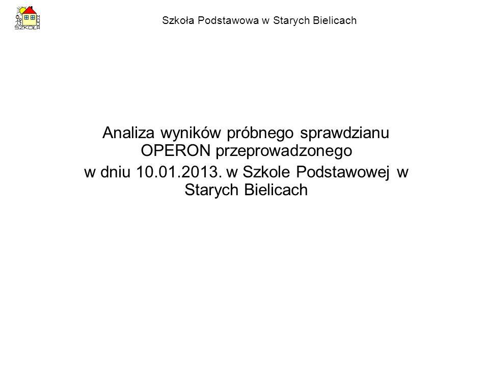Szkoła Podstawowa w Starych Bielicach Analiza wyników próbnego sprawdzianu OPERON przeprowadzonego w dniu 10.01.2013.