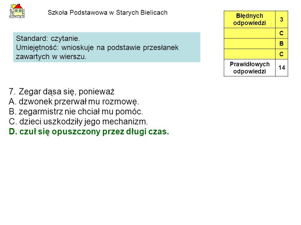 Szkoła Podstawowa w Starych Bielicach 7.Zegar dąsa się, ponieważ A.