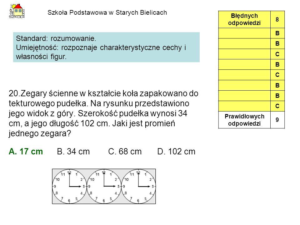 Szkoła Podstawowa w Starych Bielicach 20.Zegary ścienne w kształcie koła zapakowano do tekturowego pudełka.